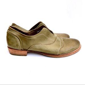 Blackstone Olive Green Slip-on Oxford Shoes